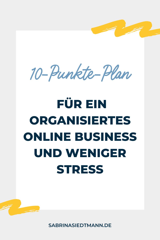 10-Punkte-Plan für ein organisiertes Business